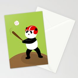 Play baseball together with a panda. Stationery Cards