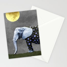 Elephant Under the Moon Stationery Cards