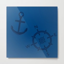 Pattern: wind rose and anchor Metal Print