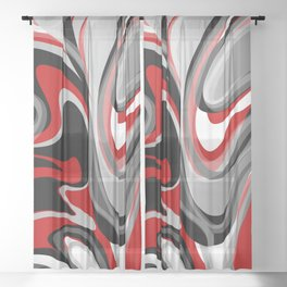 Liquify - Red, Gray, Black, White Sheer Curtain
