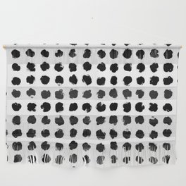 Black and White Minimal Minimalistic Polka Dots Brush Strokes Painting Wall Hanging