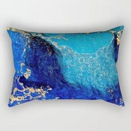 Blue And Gold Shimmer Rectangular Pillow