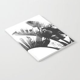 Palm leaves black and white tropical watercolor Notebook