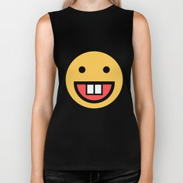 Smiley Face   Big Tooth Out   Smiling Teeth Mouth Biker Tank