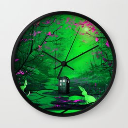 Tardis Alone Lost In The Forest Wall Clock