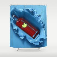 jewish Shower Curtains featuring A jug of wine with family and friends by Brown Eyed Lady