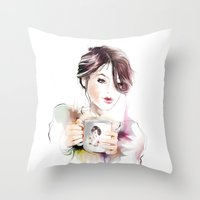 cup Throw Pillows featuring cup by tatiana-teni