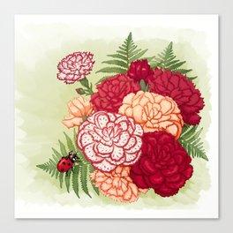 Full bloom | Ladybug carnation Canvas Print