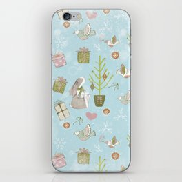 From Bunnies And Christmas-Cute teal X-Mas Pattern iPhone Skin