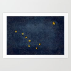 Alaskan State Flag, Distressed worn style Art Print