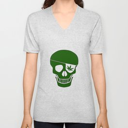 Canabis Patch Skull Unisex V-Neck