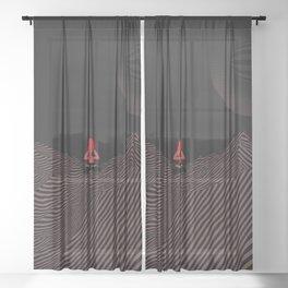 yoga pose in black minimal art Sheer Curtain