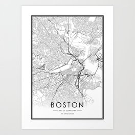 Boston City Map United States White and Black Art Print