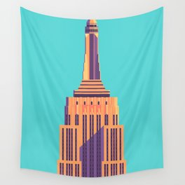 Empire State Building New York Art Deco - Cyan Wall Tapestry