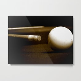 Pool Table-Sepia Metal Print