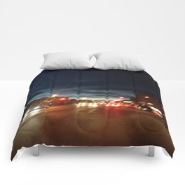 Blurry NYC Nights Photography Comforters