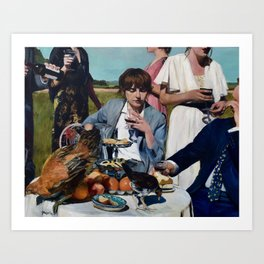 Chickens on Table Art Print