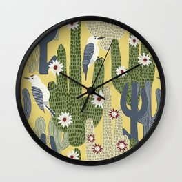 Cactus Wrens Wall Clock