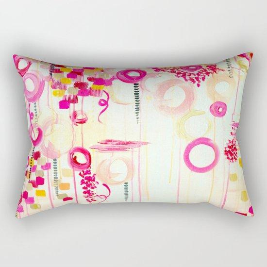 BALLOON LOVE Bubblegum POP! Beautiful Cheerful Bubbles Pretty Pink  Abstract Acrylic Painting Sky Rectangular Pillow