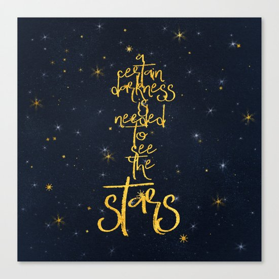 Darkness-Stars - sparkling night gold glitter effect typography on #Society6 Canvas Print