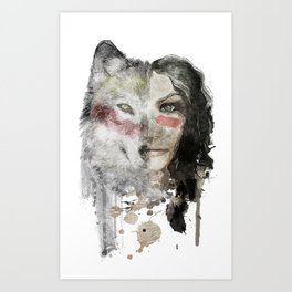 The Wolf Lady  Art Print