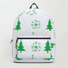 Christmas festive pattern-green on white Backpack