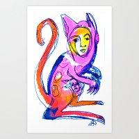 kangaroo Art Prints featuring Kangaroo by Dawn Patel Art
