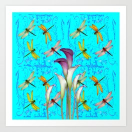 PURPLE CALLA LILIES IN  DRAGONFLY WORLD  ART Art Print