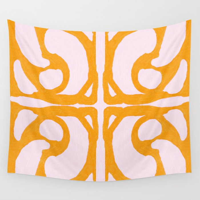 Abstract in Yellow and Cream Wall Tapestry