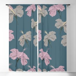 Seamless pattern of shades of pink and grey color hibiscus flowers on robin egg blue color background  Blackout Curtain