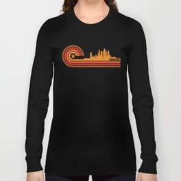 Retro Style Singapore Skyline Long Sleeve T-shirt