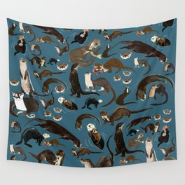 Otters of the World pattern in teal Wall Tapestry