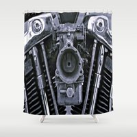 motorcycle Shower Curtains featuring MOTORCYCLE  by ALX RUTECKI