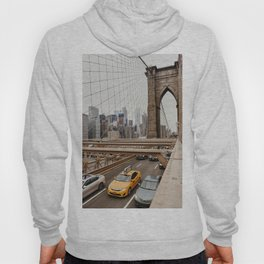 View on the manhatten from the Brooklyn Bridge in New York City, USA | New York City yellow caps driving | Travel photography | NY building architecture photo Art Print  Hoody