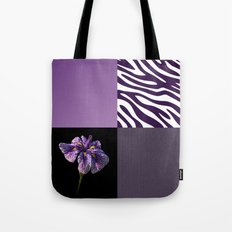 Purple Iris Flower and Zebra Stripes Patch Work Tote Bag