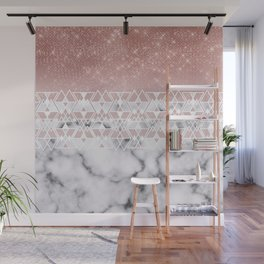 Modern Rose Gold White Marble Geometric Ombre Wall Mural