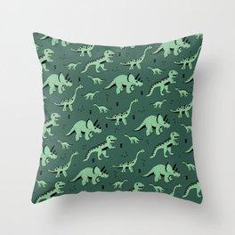 Dinosaur jungle love quirky creatures illustration Throw Pillow