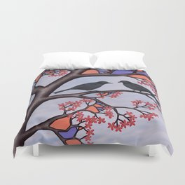 spring crows in the stained glass tree Duvet Cover