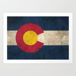 Old and Worn Distressed Vintage Flag of Colorado Art Print