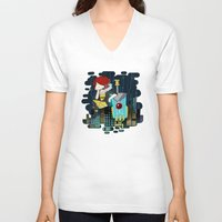 transistor V-neck T-shirts featuring Transistor Welcome to Cloudbank by Cycha