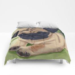 Cute pug on green sofa Comforters