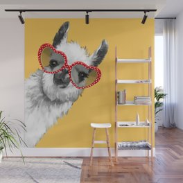 Fashion Hipster Llama with Glasses Wall Mural