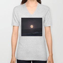 Full Moon over the Ocean Unisex V-Neck