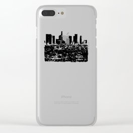 Downtown Los Angeles Skyline - Stamp Pattern on Light Blue Clear iPhone Case