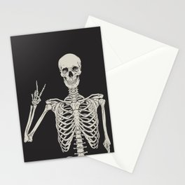 1 Mystic of 94 Magical Mystical Gothic Human Skeleton Giving The Peace Sign Bones Black & White Stationery Cards