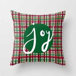 Holiday Plaid Joy - Green Throw Pillow