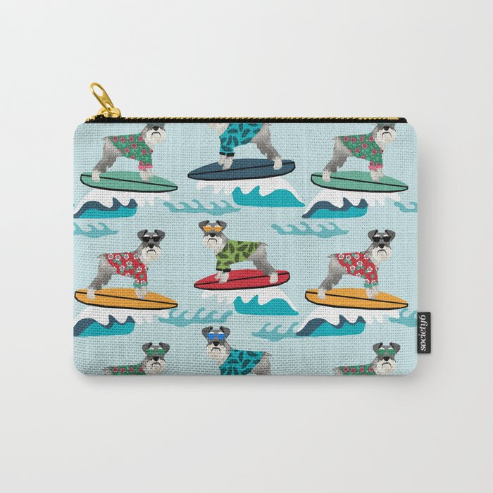 schnauzer surfing dog breed pattern Carry-All Pouch