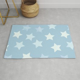 sweet pastel sky denim blue colors stars pattern Rug