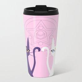 Lunar Cats - Pink Metal Travel Mug