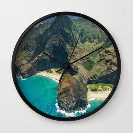Aerial view Na Pali Coast, Kauai, Hawaii Wall Clock